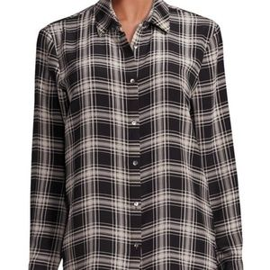 The Kooples Silk Check Plaid Button Up Blouse L
